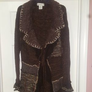 Brown long cardigan, tie front 3X
